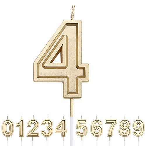 URAQT Velas Cumpleaños Número 4, Velas de Pastel de Cumpleaños, Velas Doradas para Cumpleaños/Aniversario de Bodas/Fiesta de Graduación, Número 0-9 para Elegir