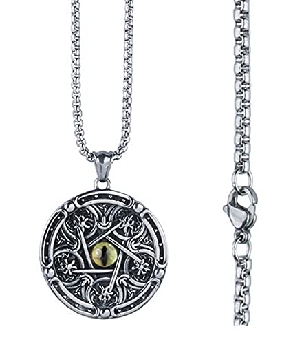 RXSHOUSH Collar con colgante redondo de acero de titanio para hombre, con diseño de ojo de diablo, cadena de 31,5 pulgadas, para regalo de hijo, novio, cadena de látigo de caballo