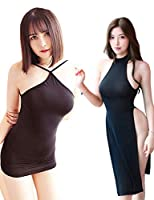 Olens セクシーランジェリーディープVネックホルター背中の開いたスリットコスプレミニパーティークラブドレス (2PCブラック, Free Size)