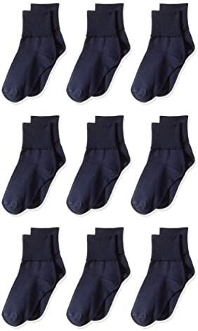 Amazon Essentials Girl s 9 Pack Cotton Uniform Turn Cuff Sock Navy 9 to 2 1 2 product image