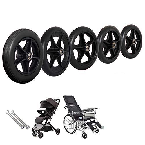Gnova 2er Set Lenkrollen Ersatzteile für Rollstuhl, 15/17/19/20 cm Durchmesser,Verschleißfeste,Räder en Schwarz,5 Speichen,Vollreifen,Pannengeschützt