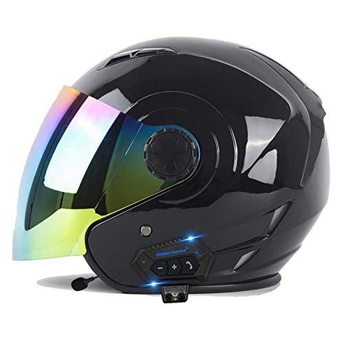 Medio Abierto Casco de Moto con Bluetooth Integrado con Doble Visera Casco Moto Jet Cubierto Casco de Seguridad ECE Homologado Casco de Motocicleta para Hombres y Mujeres M,XL