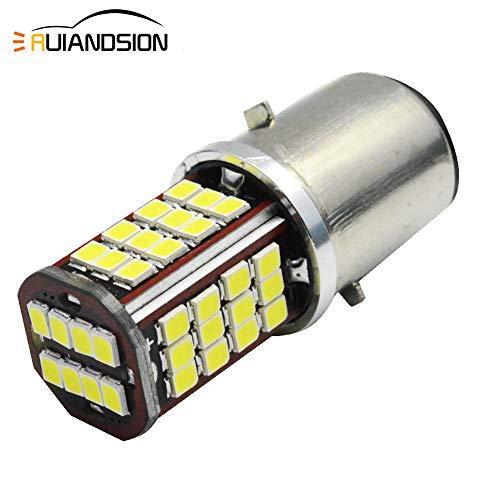 Ruiandsion 2pcs 6V BA20D Hi/Lo LED Lámpara Chipset 56SMD 2835 Bombilla de Faro para Motocicletas,6000K Blanco