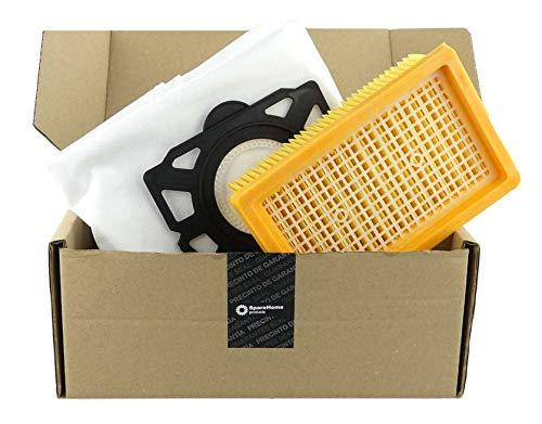 3 Bolsas SpareHome® de Alto Rendimiento + 1 Filtro Plano compatibles con aspiradores WD4 - WD5- WD6