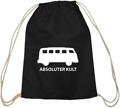 Shirtstreet24, ABSOLUTER KULT, Bus Baumwoll natur Turnbeutel Rucksack Sport Beutel, Größe: onesize,schwarz natur