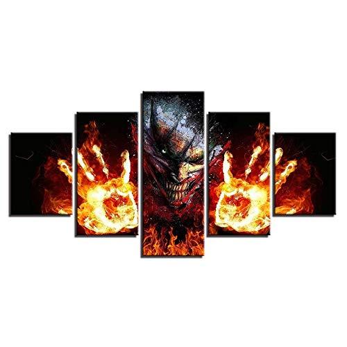 CJFHBVUQ Gemälde Artwork 5 Panels Horror-Science-Fiction-Feuerpalme Dekoration Wand 3D Bilder Zuhause Mit Rahmen 80X150Cm