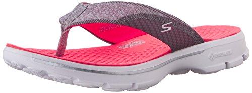 Skechers Performance Womens Go Walk Pizazz Flip Flop,Gray/Pink,11 M US