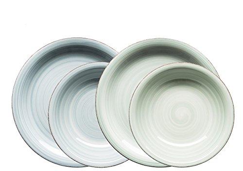 MÄSER Domestic by, Serie Bel Tempo, Dipinta a Mano in Ceramica Servizio da tavola 8Pezzi, per 2Persone, in der Colore Grigio