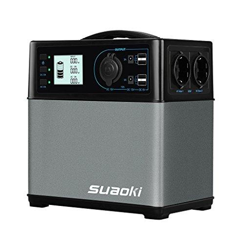 SUAOKI - 400Wh/120,000mAh Generador Portátil Solar, Cargador de Batería Almacenamiento Suministro de Energía (AC salida/coche, 4 USB puertos, AC y DC inversor de corriente, 1 mechero de coche)