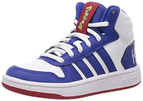 adidas Hoops 2.0 Mid Sneaker, Footwear White/Team Royal Blue/Core Black, 35.5 EU