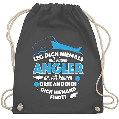 Shirtracer Angeln - Leg dich niemals mit einem Angler an - Unisize - Dunkelgrau - angel adventskalender raubfische - WM110 - Turnbeutel und Stoffbeutel aus Baumwolle