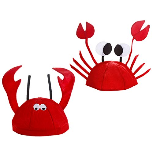 ifundom 2 Piezas Langosta Cangrejo Sombrero Animal Sombrero Disfraz Divertido Langosta Fiesta Vestido up Sombrero Bajo El Mar Novedad Sombrero para Niños Adultos