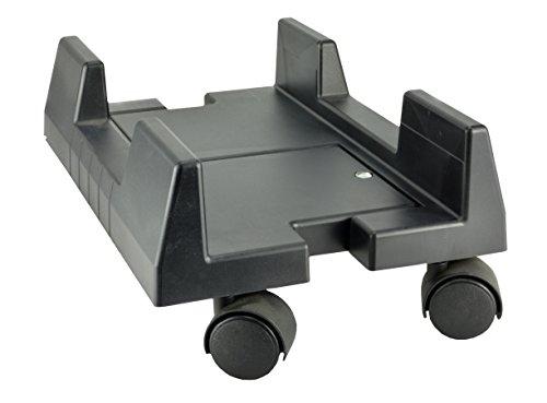 Manhattan - Supporto con ruote per computer a larghezza regolabile, Nero