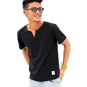 (キャバリア)CavariA メンズ 半袖 無地 Tシャツ キーネック スラブ ストレッチ カットソー CARYU17-02 46(L) BLK(ブラック)【+】