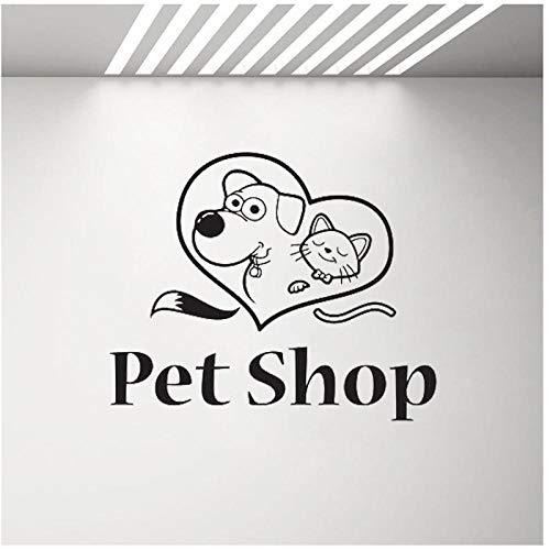 Pet Grooming Salon Wandtattoo Four Claw Pet Shop Paar Hund Hund Katze Katze Tierklinik Tier Bester Freund Wandaufkleber 51x42cm