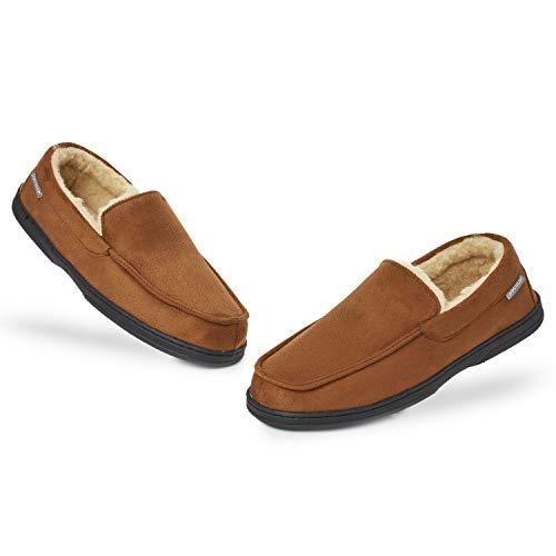 Dunlop Zapatillas Casa Hombre | Pantuflas Estilo Mocasines Cerradas | Zapatillas de Casa Invierno Calientes Suela de Goma Dura | Regalos Originales para Hombre (42 EU, Marrón)