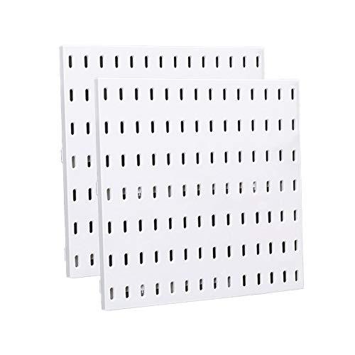 2Pcs White Pegboard Wall Shelf Modular Hanging, Plastic Peg Boards for Walls, Craft Room, Ornaments Display, Nursery Storage, Office Organization, Garage Workbench (2)