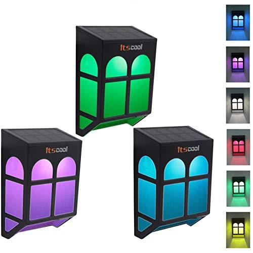 Solarleuchte, Itscool Multifarben Zaunleuchten mit 7 Farben Auto-Verschiebung für Gartenzaun und Terrasse (3er Pack)