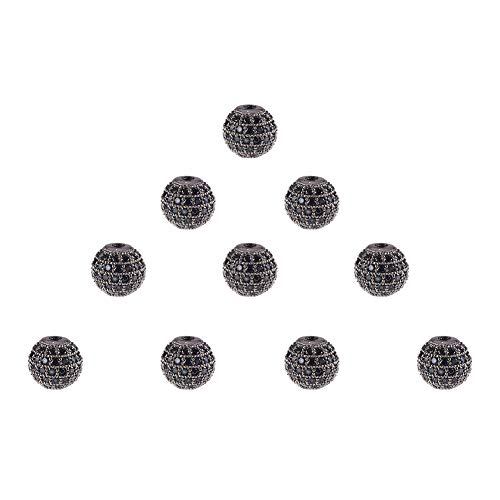 NBEADS 10 Pcs 8mm Gunmetal Cubic Zirconia Beads, CZ Stones Micro Pave Disco Ball Beads Round Spacer Beads Bracelet Connector Charms Beads for Jewelry Making