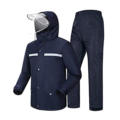 BHBXZZDB Traje de Lluvia (Chaqueta y pantalón) Mujer Hombre Ropa de Lluvia Impermeable Transpirable Ciclismo con Capucha Impermeable para Senderismo/Al Aire Libre/Camping/Moto Ponch, Azul Marin