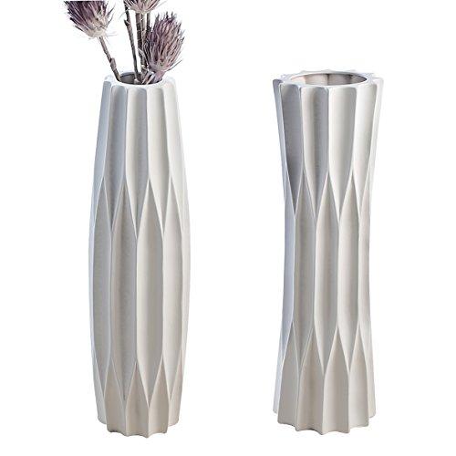 CASABLANCA Vase taglio Céramique Blanc Mat 2 assortis Lot de 2 B 0 X H 78 x l 0 cm avec motif