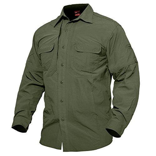 MAGCOMSEN Herren Quick Dry Hemd Outdoor Tactical Hemd Sommer Langarmhemd UV-Schutz Hemd Herrenhemd Leicht Angeln Hemd Jagdhemd Safari Shirt Armee Hemd Armeegrün S