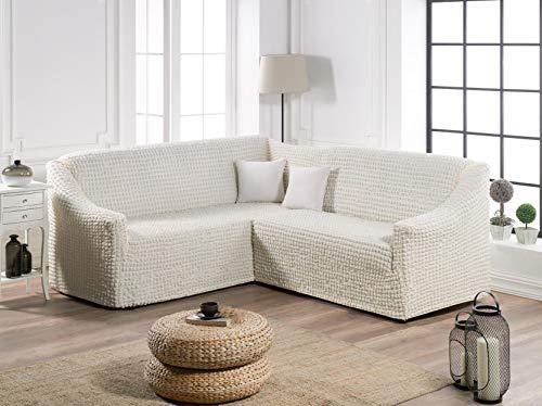 My Palace Zaira Ecksofabezug L-Form Eckcouch Bezug Rutschfester und elastischer Stretch Spandex Sitzeckenbezug Sofa Überwurf Sofahusse Couchcover Creme