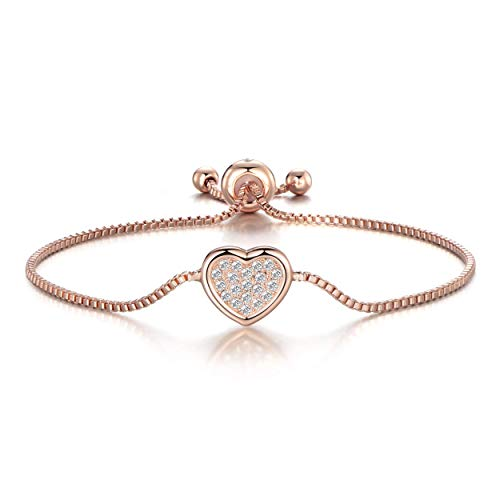 Philip Jones Rose Gold Pave Heart Friendship Bracelet Created with Austrian Crystals