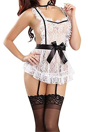 Mujer Sexy Lace Maid Costume Criada Disfraz Lencera Hot Halter Picardias Camisn Transparente Bata Cosplay EU 32-36