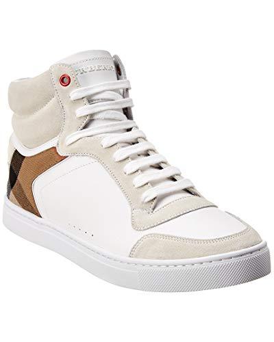 BURBERRY Scarpe Sneaker Alte Stivaletto Uomo in Pelle e Tessuto 4054020 Bianco (42.5 EU)