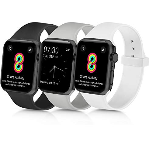 Yandu Correa de reloj deportiva de repuesto de silicona suave para Apple Watch [Negro, gris, blanco - 38/40mm]