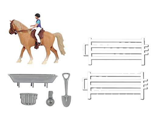 Kids Globe Horses Pferdespielset (Pferde-Spielset klein, Kids Globe Farming, Spielset), mit 1 Pferd, 1 Reiter, Weidezaun und Zubehör - 640073