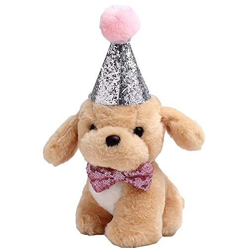 HEEPDD 2 Stück Haustier Hund Katze Geburtstag Hut, Haustier Hund Katze Birthday Caps Wieder verwendbare Headwear Bowknot Party Kostüm perfekte Hund oder Welpen Geburtstag Geschenk (Rosa)