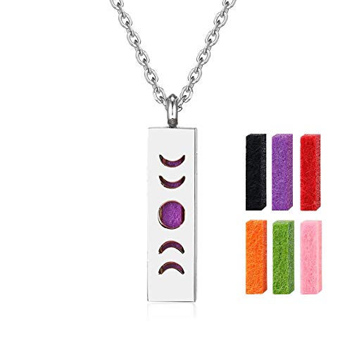 UALGL Moon Phase Aromatherapy Essential Oil Diffuser Necklace Stainless Steel Square Bar Pendant Perfume Necklace Adjustable Chain Choker Triple Goddess Locket Jewelry (E-Ar Moon)
