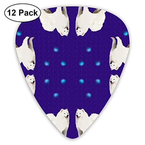 Samoyed Purple With Stars 12 Tablets Guitar Pick For Acoustic Electric Guitars Ukulele With Different Sizes