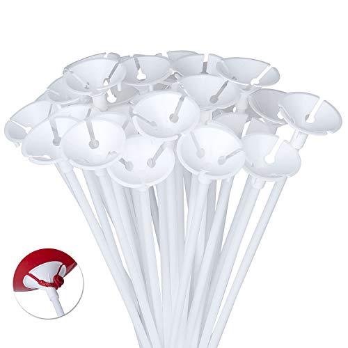 Diealles 100 Pezzi Palloncini Sticks Supporti per Matrimonio, Party e Decorazioni,40CM - Bianco