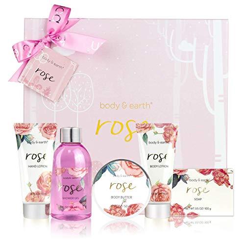Geschenkbox für Frauen,Body&Earth Rose 6pcs geburtstagsgeschenk für frauen mit Duschgel, Körperbutter, Handcreme, Körperlotion,Bad Set Frauen Geschenk Geschenkset Frauen, körperpflege damen