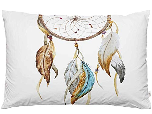 EKOBLA Throw Pillow Cover Dream Catcher Native American Style Bohemian Boho Feather Tribal Design Circle Decor Lumbar Pillow Case Cushion for Sofa Couch Bed Standard Queen Size 20x30 Inch