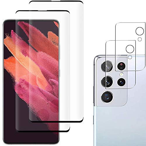 [2+2 Pack] Galaxy S21 Ultra Screen Protector Include 2 Pack Tempered Glass Screen Protector + 2 Pack Tempered Glass Camera Lens Protector,9H Hardness,Bubble Free,Anti-Scratch for Galaxy S21 Ultra 5G