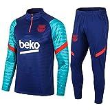 Kit de Entrenamiento de fútbol de 2021 Bárcèlónà Mens - Bārçà Boys Soccer Jersey   Top de Manga Larga + Set de Pantalones   Medio Cremallera Sudadera Pullover Blue-30