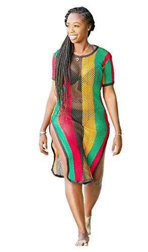 Clossy London Rasta Multicolour Rihanna Work Dress Side Slit Ladies String mesh Fishnet Midi (XXL)