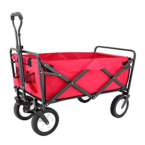 GW Carro Playa Plegable Carro para Jardín Carro De Transporte con 4 Ruedas Y Frenos Palanca Ajustable con Guardapolvo,Rojo