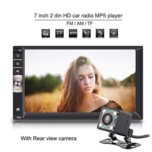 Reproductor de radio para automóvil, 7 pulgadas Universal 2 Din Entrada auxiliar Radio para automóvil Reproductor MP5 Bluetooth USB/TF FM con cámara de visión trasera Negro