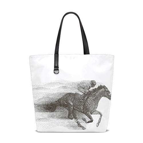 Damen Handtaschen Cool Jockey Reiten Pferd Polyester Stoff Schultertasche