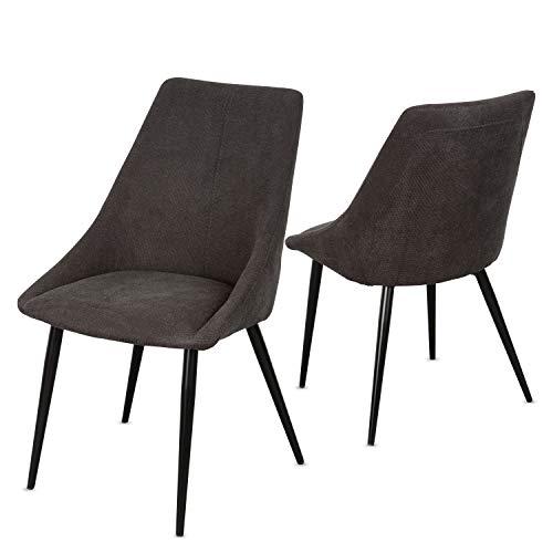 Staboos Stühle 2er Set CH80 - Hochwertiger Polsterstuhl bis zu 150 kg belastbar - Strapazierbarer Stoff Sessel - Premium Dining Chair - leicht montierbare Esszimmerstühle (Anthrazit)
