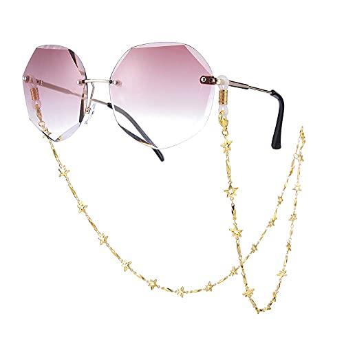 AMOZ Moda Pentáculo Pentagram Link Secure Eyeglass Sunglass Strap Holder Link Chain para Mujeres Niñas,Cadena de Oro, Bobina Blanca