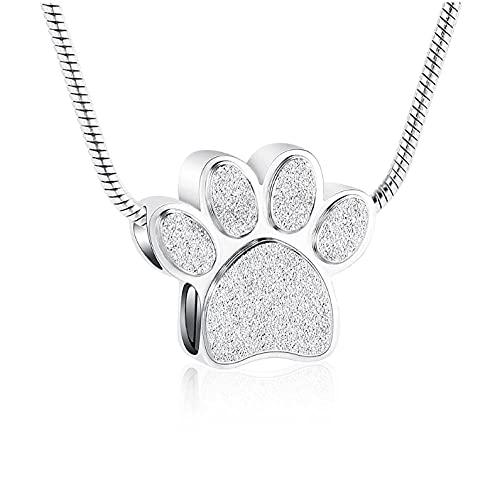Wxcvz Collar Urna para Cenizas Colgante Conmemorativo del Collar De La Urna De La Cremación De La Impresión De La Pata del Perro/del Gato De Las Cenizas del Acero Inoxidable