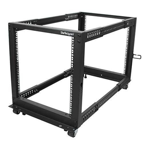 """StarTech.com 12U Open Frame Server Rack - 4 Post Adjustable Depth (22"""" to 40"""") Network Equipment Rack w/ Casters/ Levelers/ Cable Management (4POSTRACK12U),Black"""