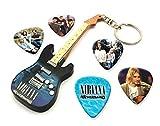 We Love Guitars Nirvana Kurt Cobain WKC 1 Mini-Porte-clésdeGuitareet5Xmédiators