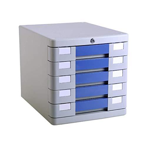 XUSHEN-HU Cajonera de escritorio de 5 capas, con cerradura de plástico para oficina, almacenamiento A4, color negro, 28 x 36 x 28 cm
